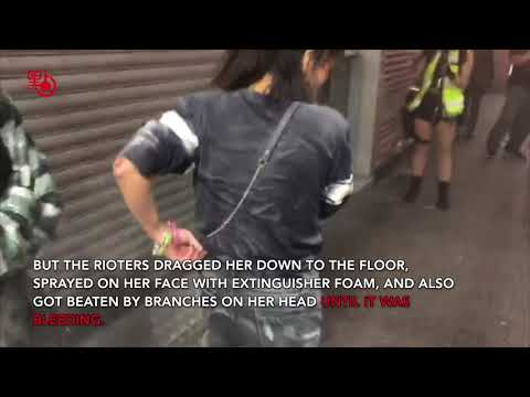 Young woman tortured by Hong Kong rioters because of political differences