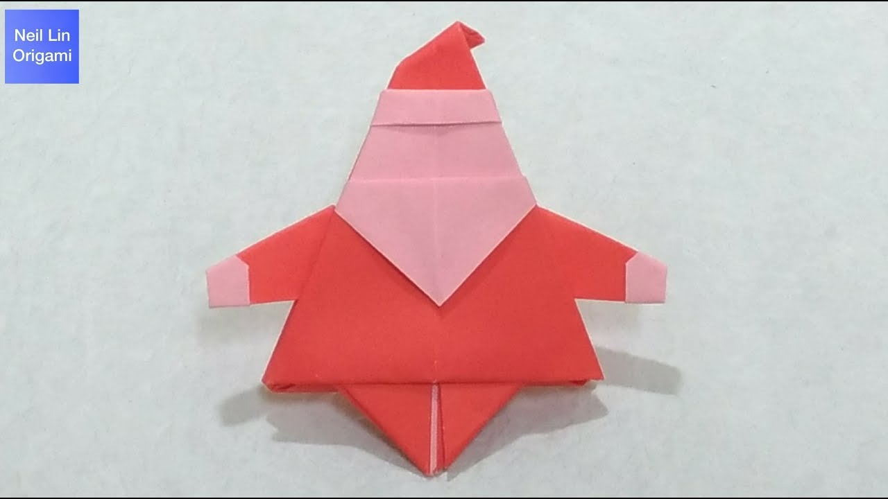 Origami santa claus tutorial youtube for Make origami santa claus