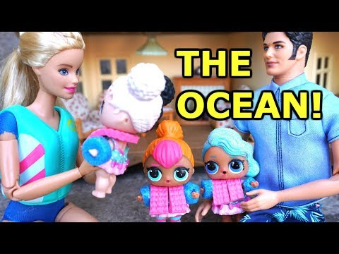 BARBIE, Ken And LOL SURPRISE DOLLS Drive To The Beach!