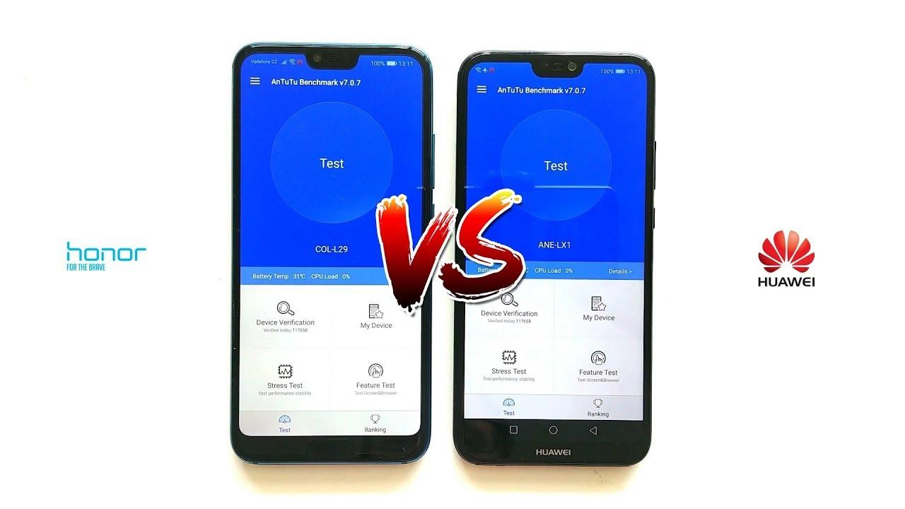 Honor 10 vs Huawei P20 lite - AnTuTu Benchmark