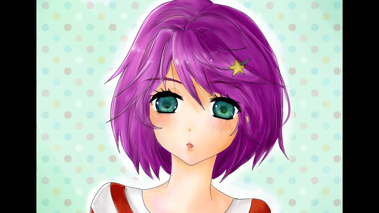 hanabi purple haired manga girl