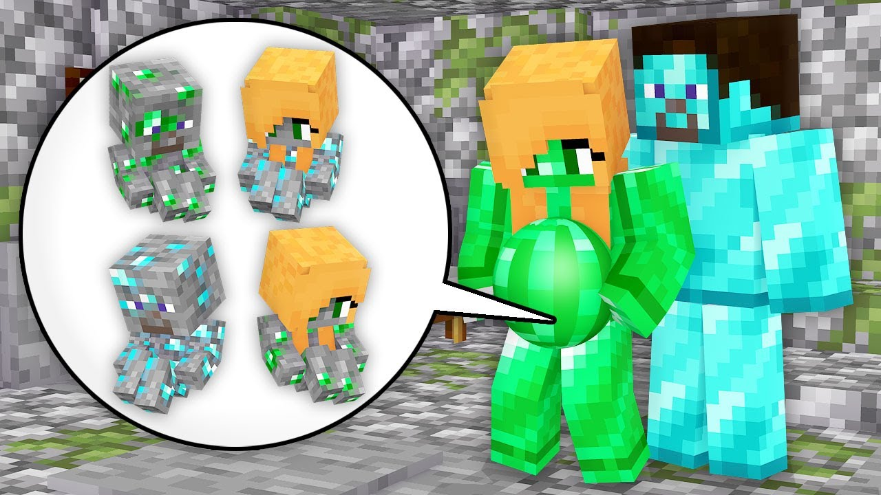 Monster School: Emerald Girl Born Baby Diamond Son And Daughter Treasure Man - Minecraft Animation