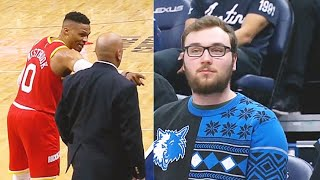 Russell Westbrook Gets Sick Of Trash Talking Fan & Calls Security! Rockets vs Timberwolves