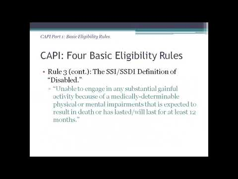 CAPI: California's Assistance Program for Immigrants who are Senior Citizens or have Disabilities