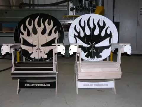 Skull Adirondack chairs for Hell on Wheels stunt team - YouTube