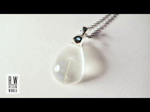 タンポポの綿毛ペンダントネックレス DIY Raindrop Pendant with Dandelion Seed 【100均UVレジンアクセサリー Resin Jewelry】