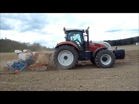 Lohnmaschinen Gölles - Mais Aussaat - Steyr CVT 6230 - Kuhn Kreiselegge - Monosem Sämaschine