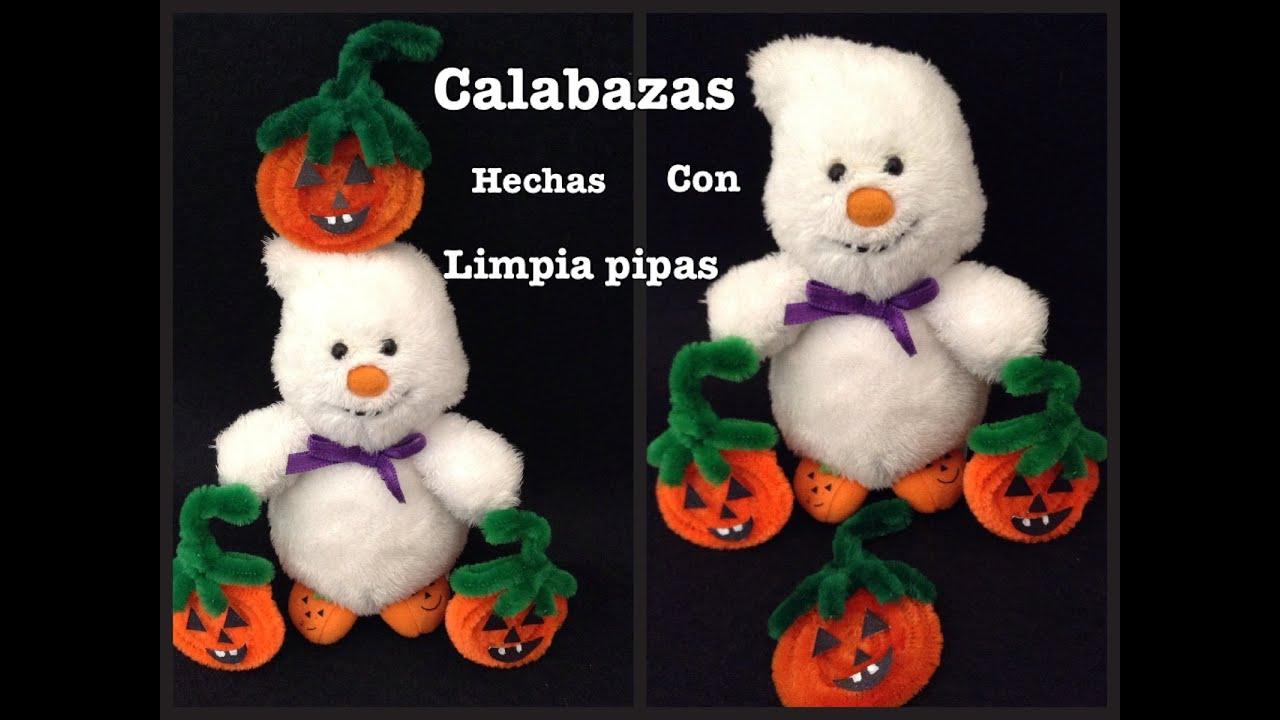 Calabazas para halloween con limpia pipas pipe cleaner - Manualidades calabazas halloween ...