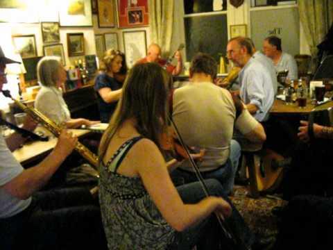 Traditional English rural pub folk music session at The Bell, Chittlehampton, Umberleigh, Devon, UK