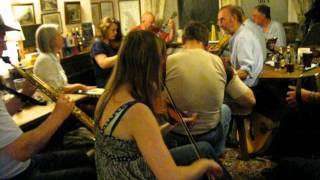 Traditional English rural pub folk music session at The Bell, Chittlehampton, Umberleigh, Devon, UK