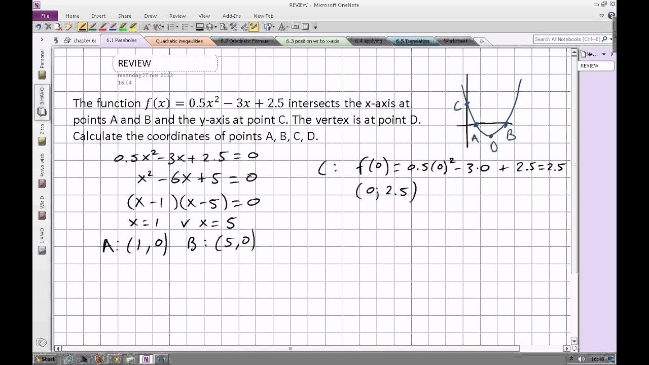 Finding The Coordinates Of The Vertex And X And Y