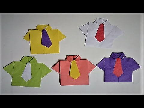 Diy Paper Craft - How to make a paper shirt with Tie origami - Easy way to make paper Shirt and Tie