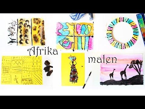 Malen mit Kindern: Afrika | Afrikanische Kunst | Muster, Tiere, Sonnenuntergang, Frau | Mama Kreativ