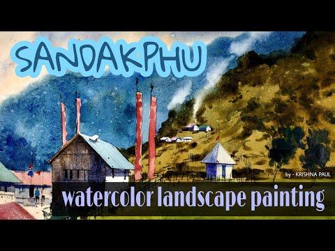 #watercolor #aquarelle #hillscape #landscape watercolor landscape painting demo,by – KRISHNA PAUL