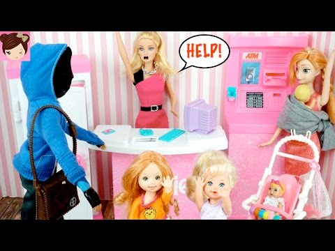 Toddler Elsa & Anna Stop Barbie Bank Robbery With Magic Powers - Barbie Malibu Bank Playset