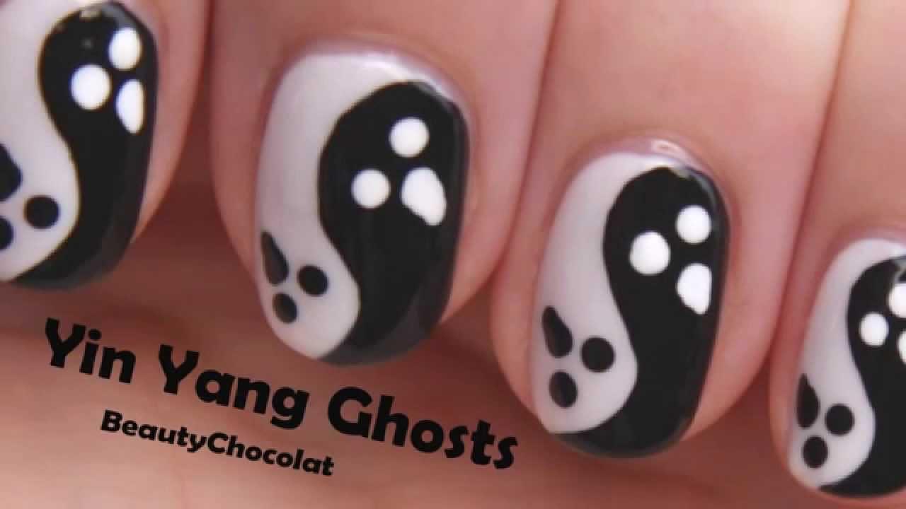 Yin yang ghosts halloween nail art halloween nails youtube prinsesfo Gallery