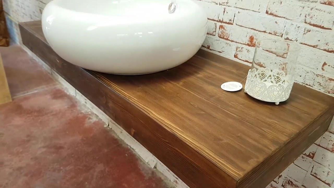 Mensola da bagno in legno lamellare di larice effetto rustico xlab