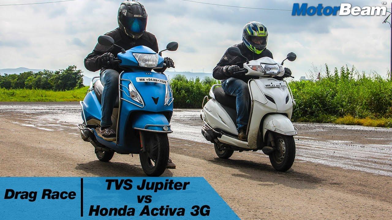 TVS Jupiter vs Honda Activa 3G  Drag Race   MotorBeam
