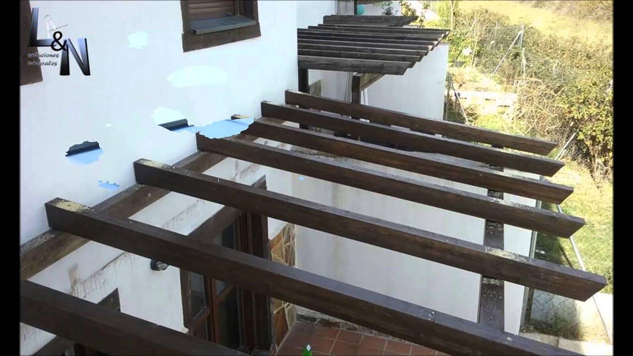 Porche de madera y policarbonato youtube for Como hacer un techo de madera