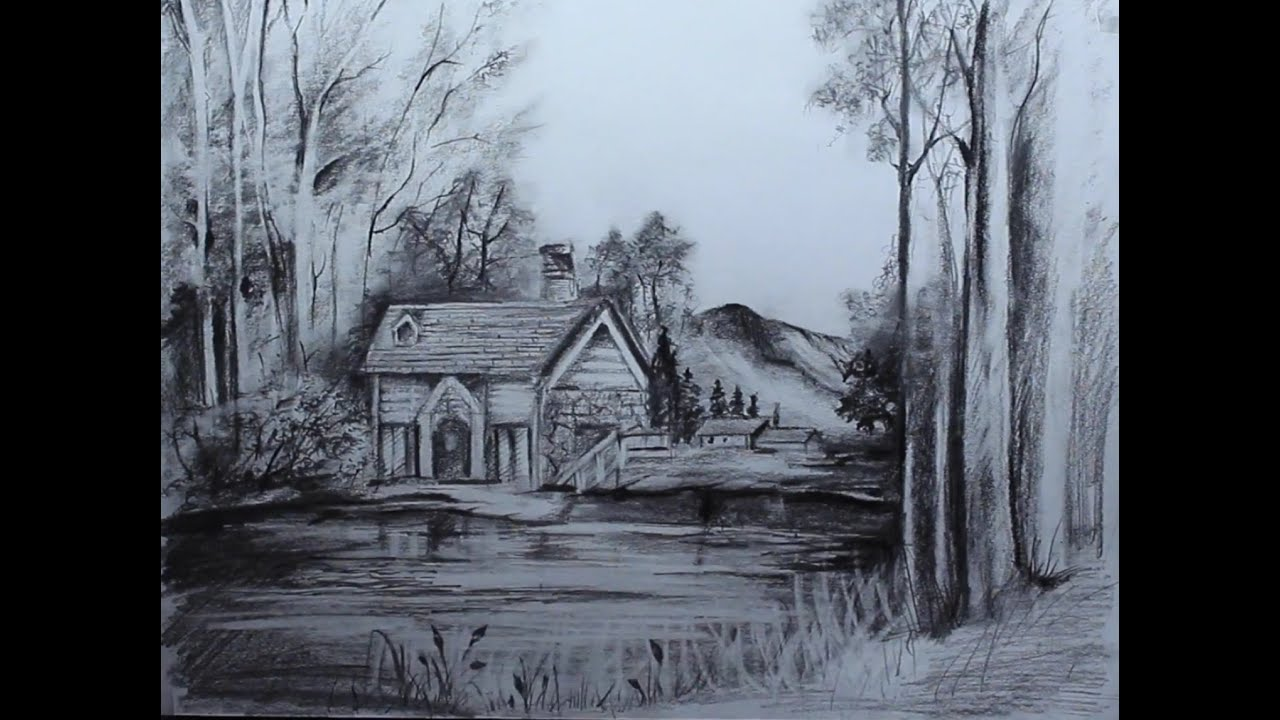Art Videos How To Draw A Cottage Landscape Youtube