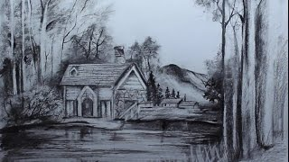 Art Videos, How to Draw a Cottage Landscape