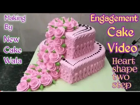 $$ENGAGEMENT CAKE $$How to make Engagement heart shape cake pink colour making by New Cake wala