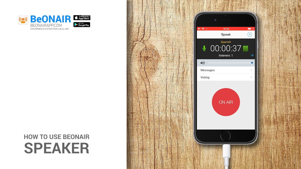 BeONAIR Conference System - iPhone and Android app for local WiFi