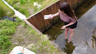 冬の用水路に罠を仕掛けてみましょう。