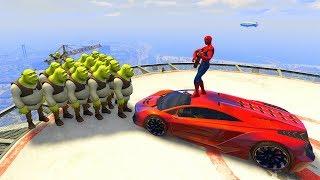 GTA 5 Crazy Ragdolls Spiderman Vs SHREK (GTA 5 Euphoria Physics Ragdolls Fails Funny)