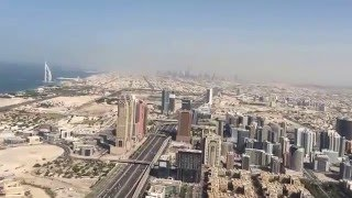 The aerial view of Downtown Dubai and the Burj Al Arab.
