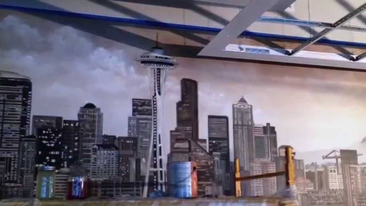 Seattle skyline mural youtube for Cityscape mural