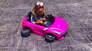 Max and Arina Pretend Play with Ride On Broken Cars Toy