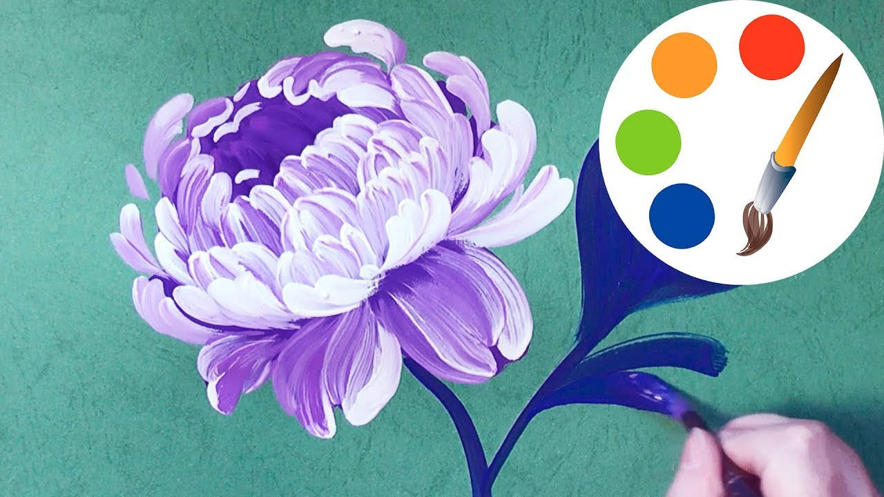 Easy Way To Paint The Peony Painting By A Round Brush For Beginners