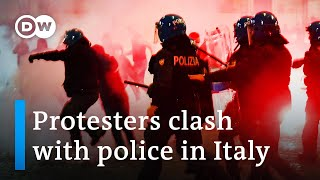 Violent protests erupt in Italy over coronavirus restrictions | DW News