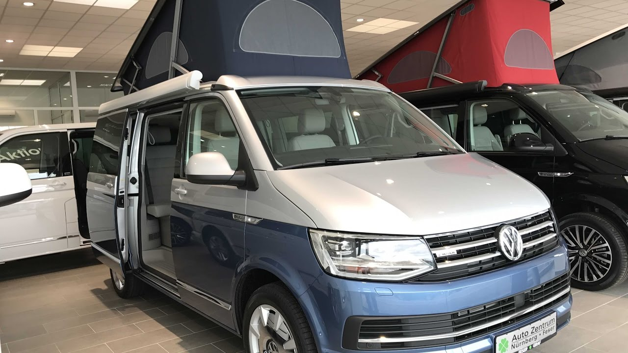 vw t6 bulli california ocean blue camper silver blue colour 2017 walkaround and interior. Black Bedroom Furniture Sets. Home Design Ideas