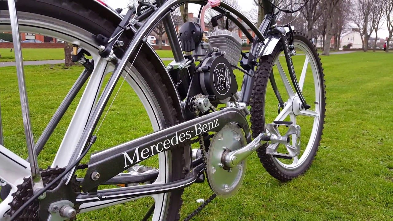 Mercedes benz push bike engine youtube for Mercedes benz motorcycle