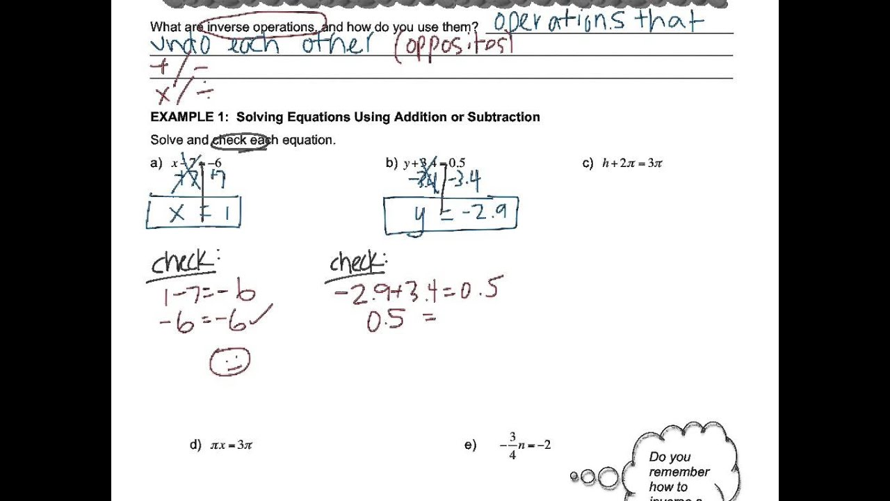 Algebra - 1.1 Solving Simple Equations - YouTube
