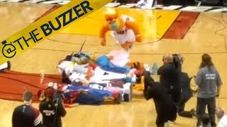 Miami Heat mascot Burnie's epic front flip fail