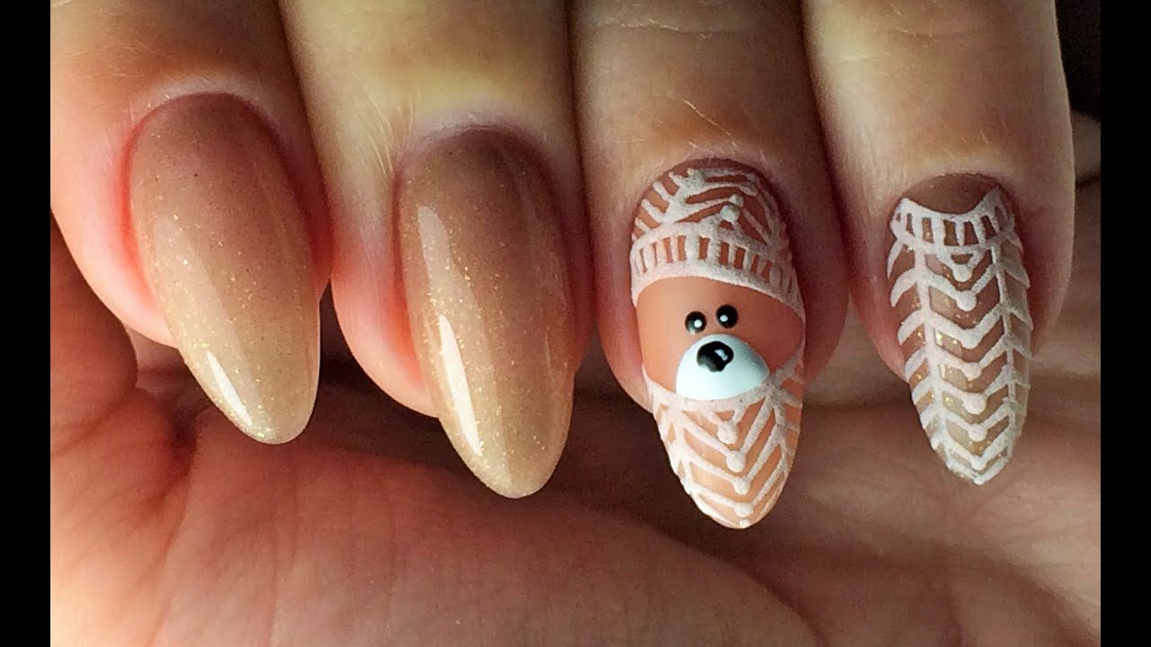 Дизайн ногте с мишками 95