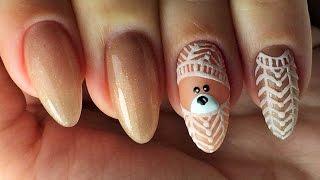 Рисуем мишку на ногтях) Дизайн с акриловой пудрой! Гельмарт и Olesyages Nails