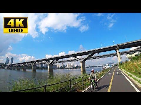 HAN RIVER Bicycle Tour at Ttukseom Resort, Seoul, Korea (4K UHD)