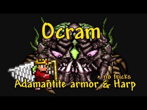 Terraria - Ocram boss solo magic/range kill, Adamantite armor & Harp (PS3)