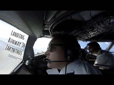 "Landing runway 34 Zakynthos International Airport ""Dionysios Solomos"" (ZTH LGZA)"