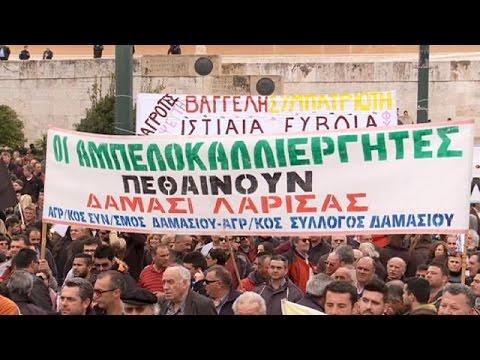 استمرار مظاهرة المزارعين اليونانيين في العاصمة أثينا لليوم الثاني