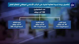 تفاصيل الزيادة على رواتب العاملين والمتقاعدين المدنيين والعسكريين (5/12/2019)