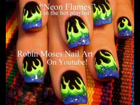 Easy Nail Art Designs Diy Neon Flames Nails Tutorial Youtube