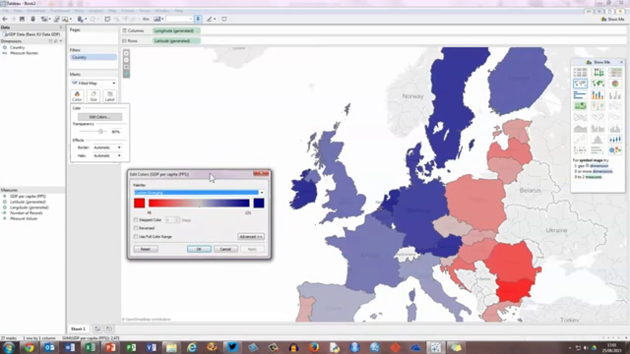 Create A Basic Filled Map In Tableau Youtube