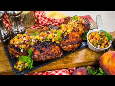 Sweet and Spicy Chicken with Peach Salsa Home & Family