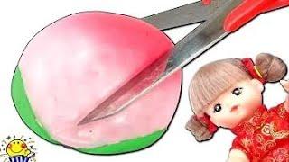 スクイーズの中身は何だ!?メルちゃんが桃まんじゅうを作るためにみか...