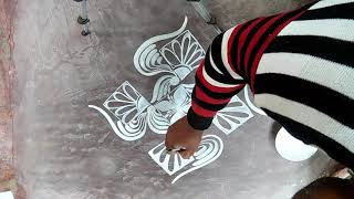 ALPONA WITH BRUSH EFFECT SIMPLE AND EASY /KOLAM DESIGNS/RANGOLI DESIGNS/HOW TO DRAW ALPONA DESIGNS